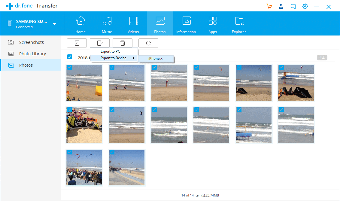 Transfer Photos from Sony Xperiato iPhone  with dr.fone Phone Manager