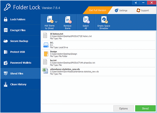Folder Lock - Shred Files