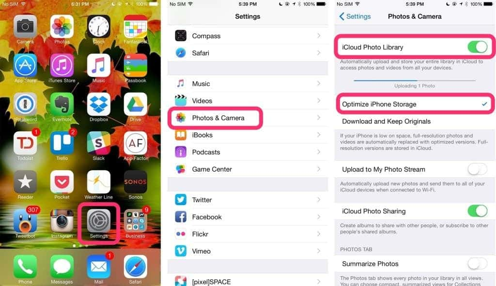 Enable iCloud Photo Library