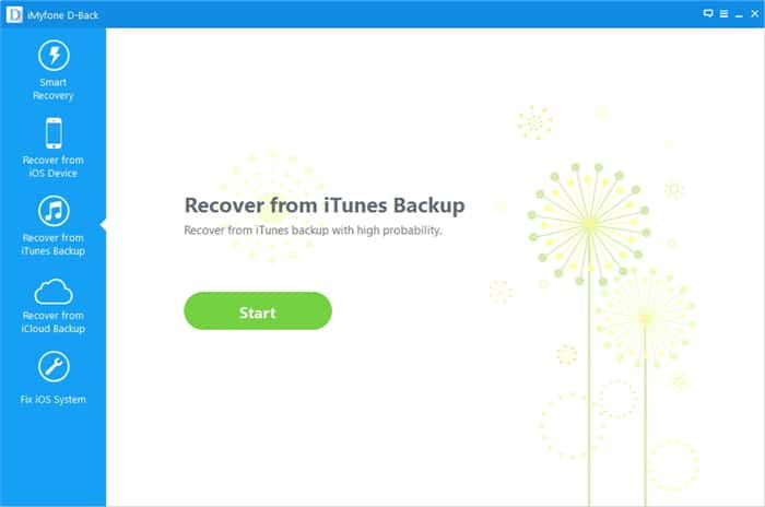 iMyfone D-Back Recover from iTunes Backup
