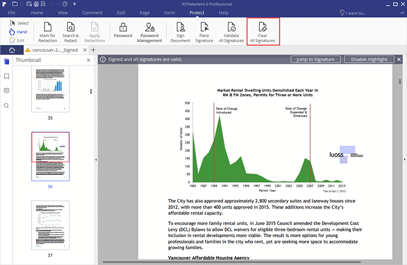 how to remove signatures from PDF Using PDFElement