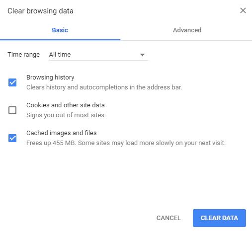 Clear Browser cache and data to fix The Media Could Not Be Played