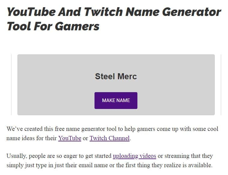 YouTube and Twitch name generator