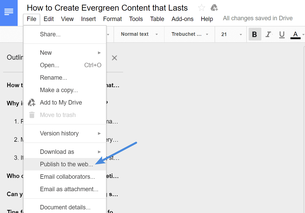 Use Publish to Web option to save images from Google Doc