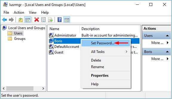 remove Windows password in Local Users and Groups