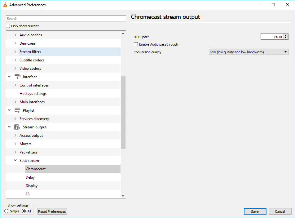 Change the quality of conversion on VLC Advanced Preferences