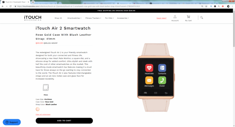 The Air 2 iTouch smart watch