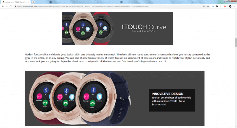 The Curve iTouch smart watch